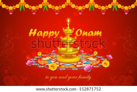 illustration of Happy Onam decoration with diya and rangoli - stock vector