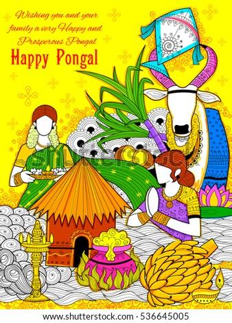 Illustration happy pongal greeting background stock vector 536645005 illustration of happy pongal greeting background m4hsunfo