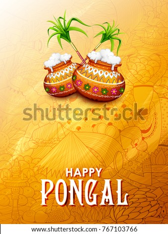 illustration of Happy Pongal Holiday Harvest Festival of Tamil Nadu South India greeting background