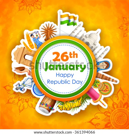 illustration of Happy Republic Day of India background - stock vector
