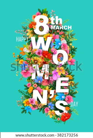 illustration of Happy Women's Day greetings background - stock vector