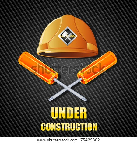 illustration of hard hat with screw driver on abstract textured background - stock vector