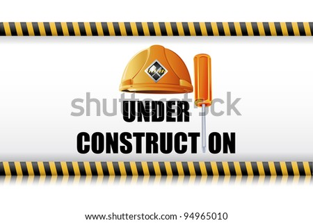 illustration of hard hat with screw driver on under construction board - stock vector