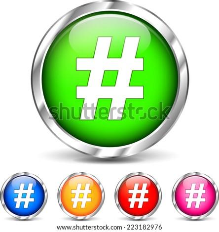 Illustration of hashtag icons set on white background - stock vector