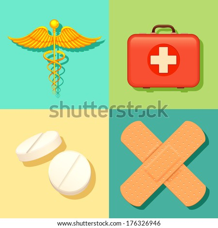 illustration of Healthcare and Medical background - stock vector