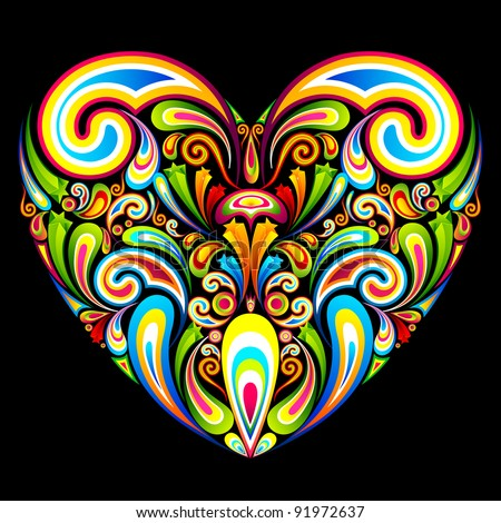 illustration of heart formed by colorful abstract swirl - stock vector