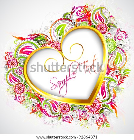 illustration of heart formed by colorful floral pattern - stock vector