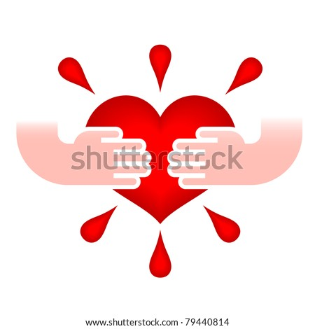 illustration of heart in human hands on white - stock vector
