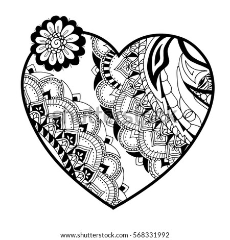 Illustration Of Heart In Zentangle Style Adult Coloring Book Page Wedding Or Valentines Day
