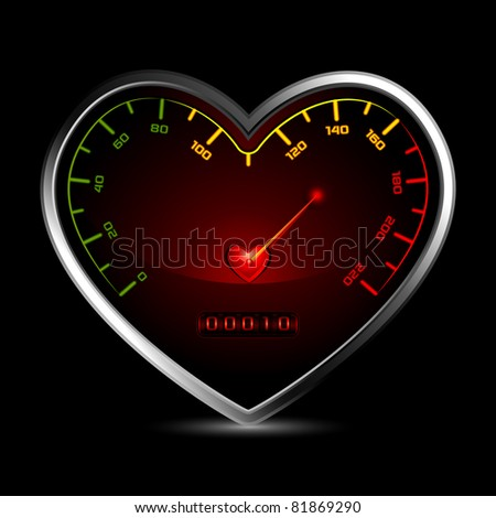 illustration of heart shape speedometer showing love measurement - stock vector