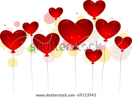 Illustration of Heart-shaped Balloons Floating in the Air