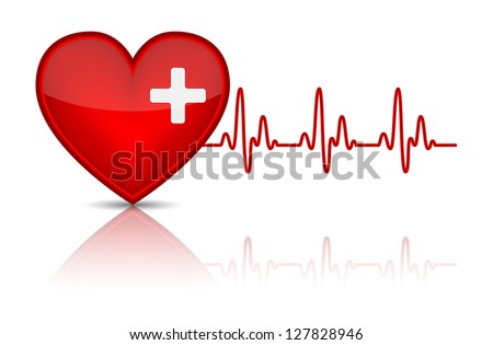 Illustration of heart with heartbeat, electrocardiogram. Vector illustration - stock vector