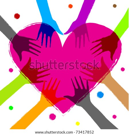 illustration of heart with human hands on it - stock vector