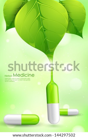 illustration of herbal medicine formed by leaf juice - stock vector