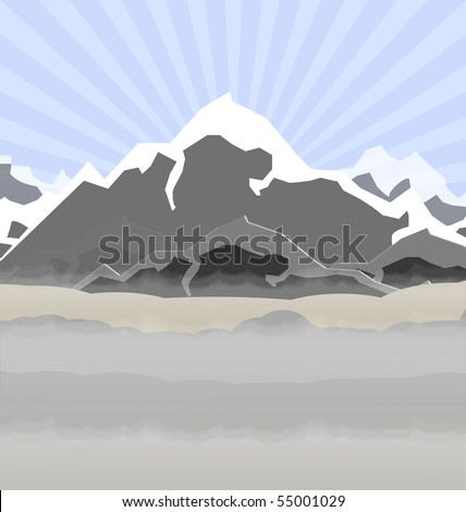 illustration of high mountains in fog - stock vector