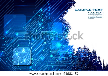 illustration of high tech futuristic background with circuit board - stock vector