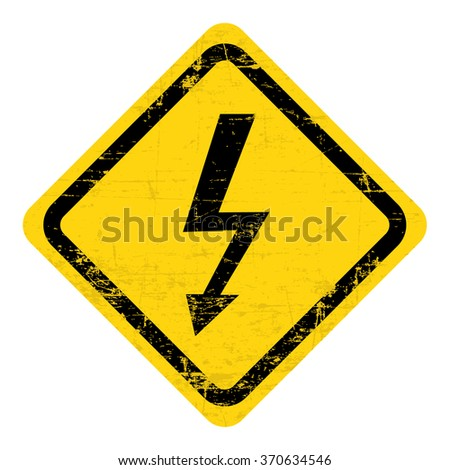 Illustration of high voltage sign. Grungy, worn style - stock vector