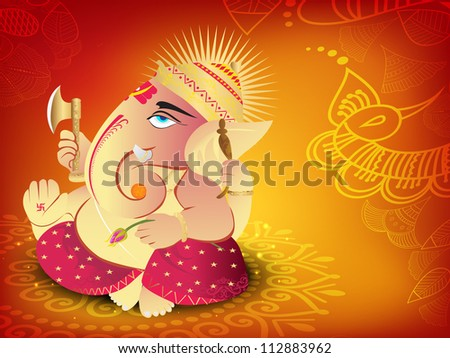 Illustration of Hindu Lord Ganesha. EPS 10. - stock vector