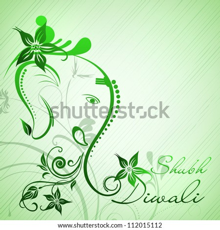 Illustration of Hindu Lord Ganesha with floral decorative artwork. EPS 10. - stock vector