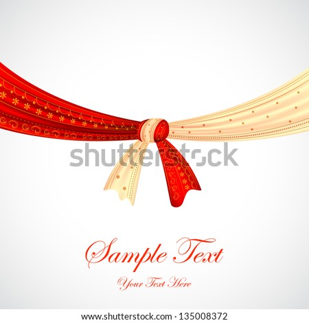illustration of Hindu wedding knot tied with man and woman dress - stock vector