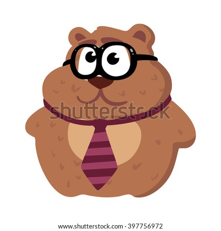 Illustration of hipster bear in a tie and with glasses on white background.