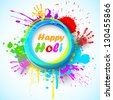 Illustration of holi background with hand print and colorful grunge - stock photo