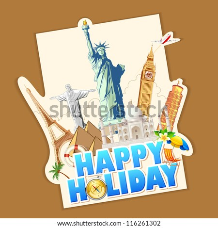 illustration of holiday banner with world famous monument - stock vector