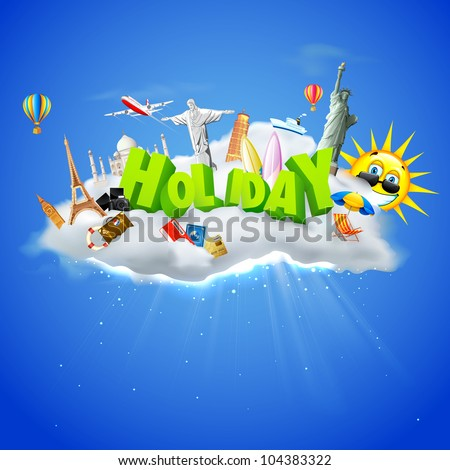 illustration of holiday text with travel object with famous monument on cloud - stock vector