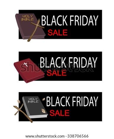 Illustration of Holy Bible with Wooden Cross on Black Friday Shopping Banner for Start Christmas Shopping Season. - stock vector
