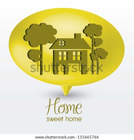Illustration of home icon on text balloons, house silhouettes on white background, vector illustration
