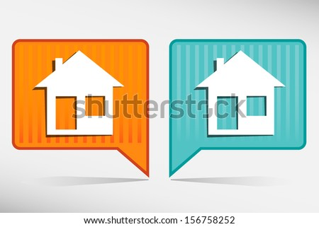Illustration of home icons, house silhouettes yellow and blue pointer - stock vector