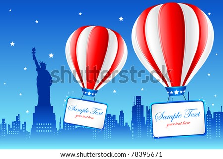 illustration of hot air balloon flying on american city new york with statue of liberty in background - stock vector