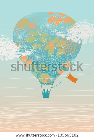 Illustration of hot air balloon in the sky - stock vector