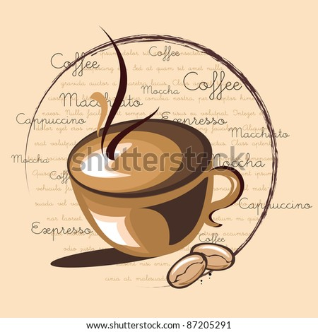 illustration of hot coffee on word cloud background with related words - stock vector