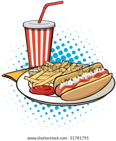 Illustration of hot dog, french fries and drink. - stock vector