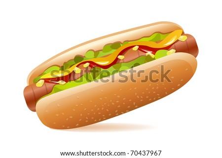 illustration of hotdog on white background - stock vector