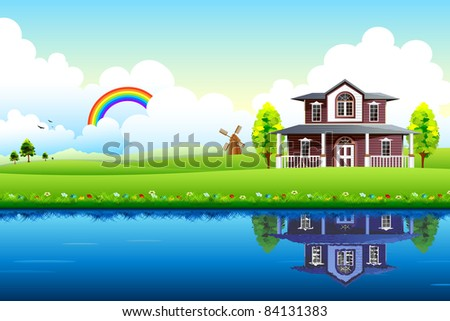 illustration of house with beautiful landscape and lake - stock vector