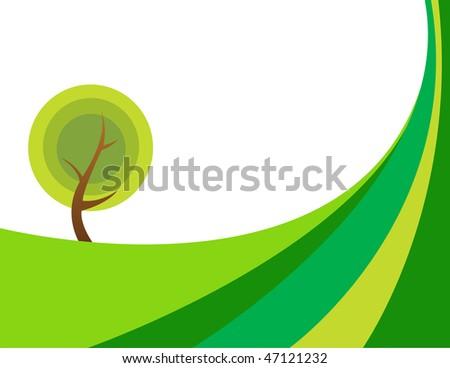 Illustration of huge tree - stock vector