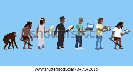 Illustration of human and technic evolution and degradation in color - stock vector