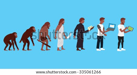 Illustration of human and technic evolution in color - stock vector