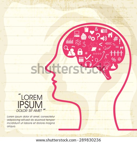 Illustration of human brain thinking about various things on notebook paper background. - stock vector