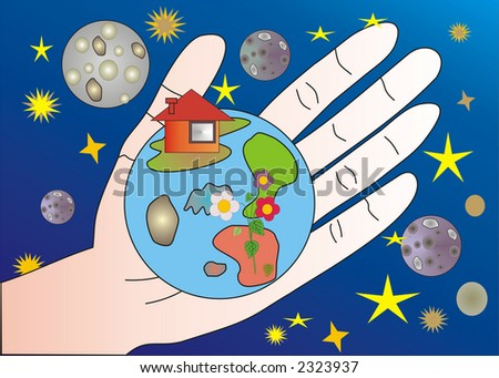 illustration of human hand holding planet Earth