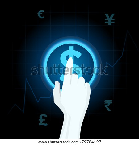 illustration of human hand playing with different currency on touch screen - stock vector
