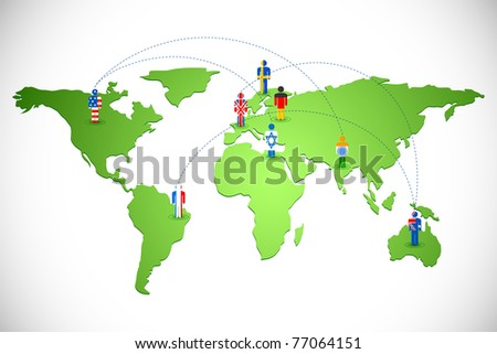 illustration of human icon of different countries connected on world map - stock vector