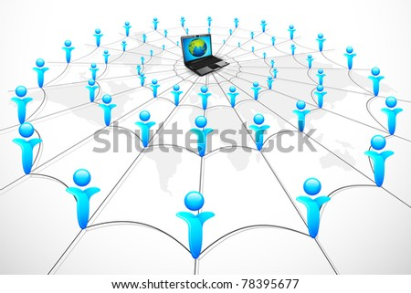 illustration of human networking connected to server in center - stock vector