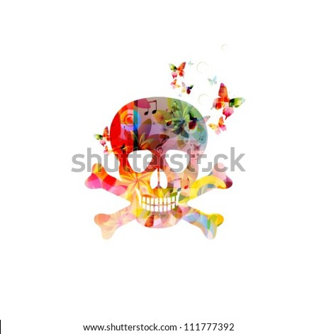 Illustration of human scull with butterflies - stock vector