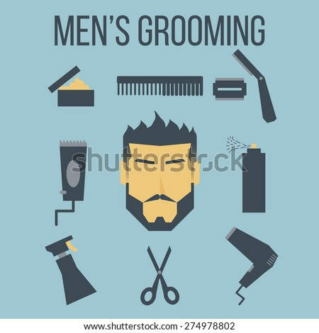 Illustration of icon men's grooming graphic design