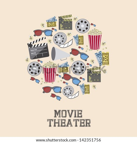 Illustration of icon of cinema, 3D cinema glasses,  director slate, popcorn, tickets, and Film reel, vector illustration  - stock vector