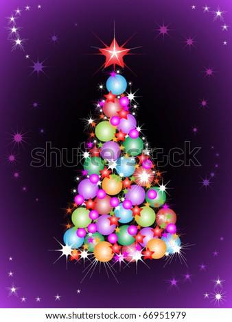 Illustration of illuminated Christmas tree - stock vector