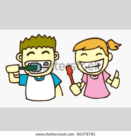 illustration of illustration of a kids brushing teeth - stock vector